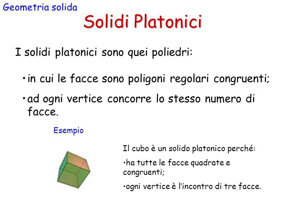 Solidi Platonici Geometria solida I solidi platonici sono quei poliedri: in cui le facce sono poligoni regolari congruenti; ad ogni vertice concorre lo stesso numero di facce.