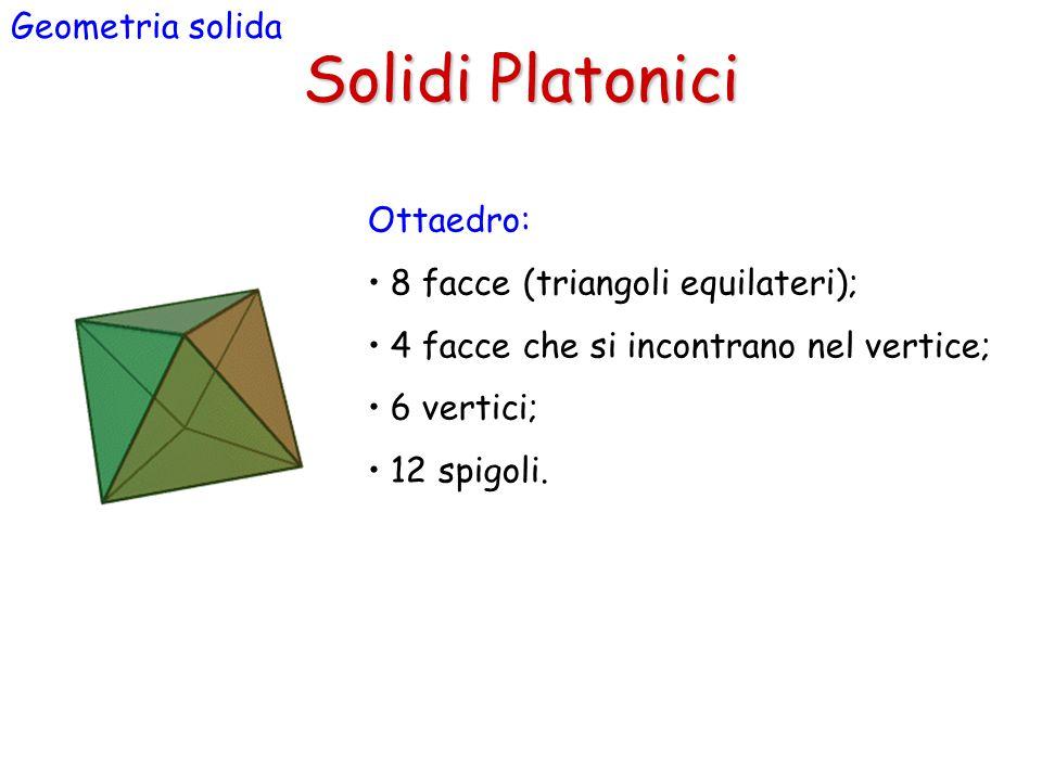 Solidi Platonici Geometria solida Ottaedro: 8 facce (triangoli equilateri); 4 facce che si incontrano nel vertice; 6 vertici; 12 spigoli.