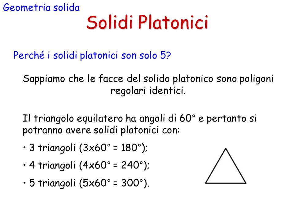 Solidi Platonici Geometria solida Perché i solidi platonici son solo 5? Sappiamo che le facce del solido platonico sono poligoni regolari identici. Il