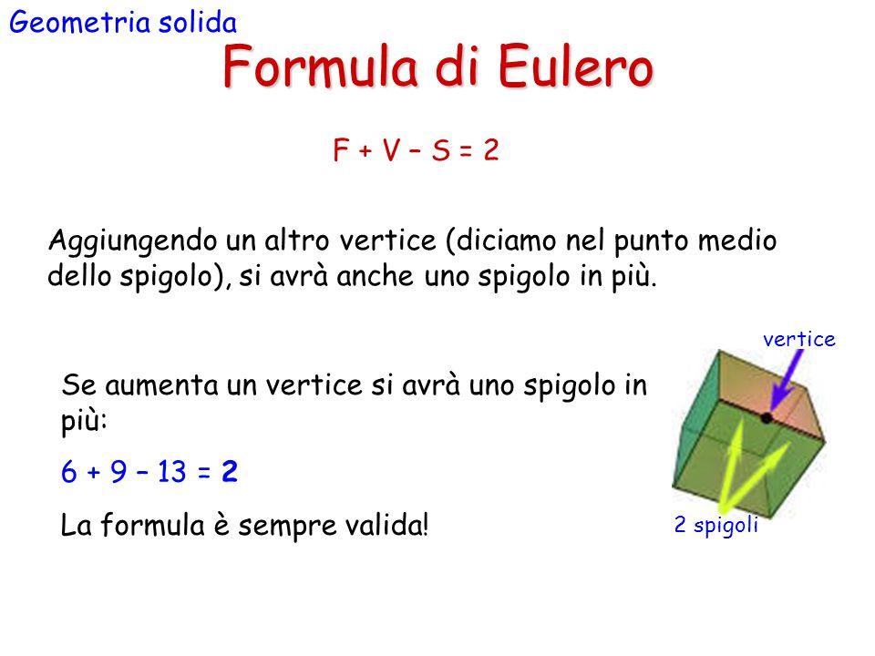 Formula di Eulero Geometria solida Aggiungendo un altro vertice (diciamo nel punto medio dello spigolo), si avrà anche uno spigolo in più.