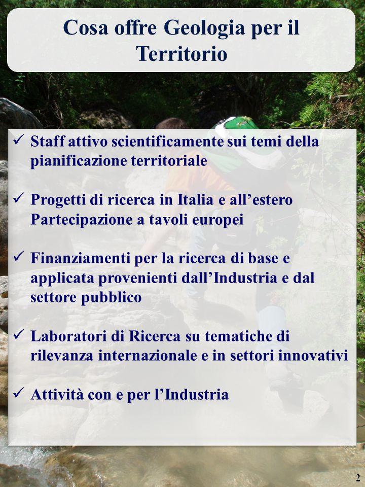 2 Staff attivo scientificamente sui temi della pianificazione territoriale Progetti di ricerca in Italia e all'estero Partecipazione a tavoli europei Finanziamenti per la ricerca di base e applicata provenienti dall'Industria e dal settore pubblico Laboratori di Ricerca su tematiche di rilevanza internazionale e in settori innovativi Attività con e per l'Industria