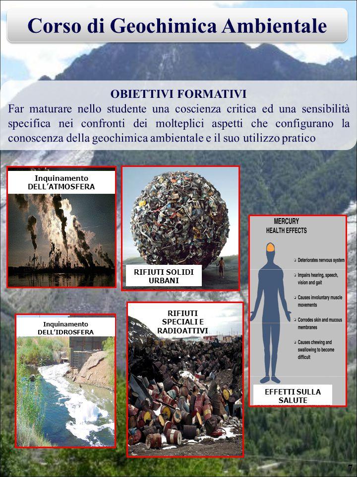 Inquinamento DELL'ATMOSFERA Inquinamento DELL'IDROSFERA RIFIUTI SOLIDI URBANI RIFIUTI SPECIALI E RADIOATTIVI EFFETTI SULLA SALUTE 7
