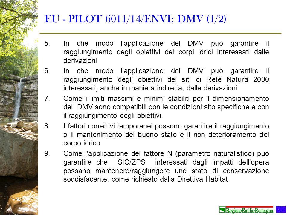 EU - PILOT 6011/14/ENVI: DMV (1/2) 5.In che modo l'applicazione del DMV può garantire il raggiungimento degli obiettivi dei corpi idrici interessati d