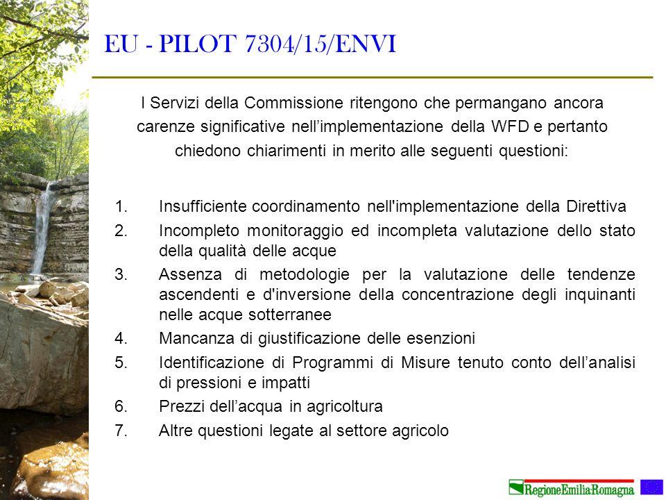 EU - PILOT 7304/15/ENVI 1.Insufficiente coordinamento nell'implementazione della Direttiva 2.Incompleto monitoraggio ed incompleta valutazione dello s