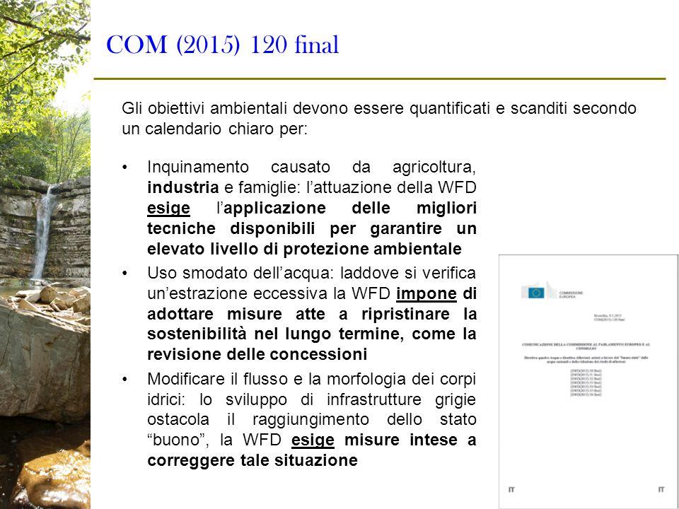 COM (2015) 120 final Gli obiettivi ambientali devono essere quantificati e scanditi secondo un calendario chiaro per: Inquinamento causato da agricolt