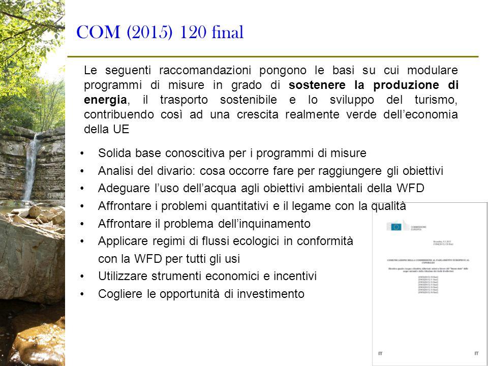 COM (2015) 120 final Solida base conoscitiva per i programmi di misure Analisi del divario: cosa occorre fare per raggiungere gli obiettivi Adeguare l