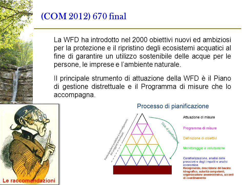(COM 2012) 670 final La WFD ha introdotto nel 2000 obiettivi nuovi ed ambiziosi per la protezione e il ripristino degli ecosistemi acquatici al fine d