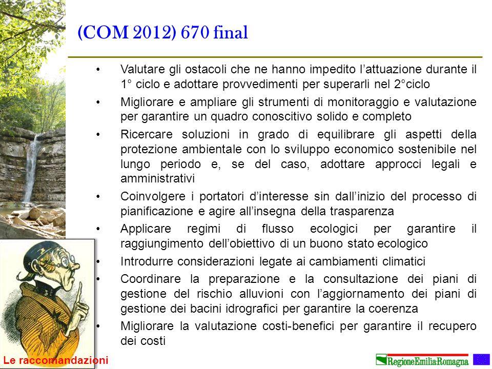 (COM 2012) 670 final Valutare gli ostacoli che ne hanno impedito l'attuazione durante il 1° ciclo e adottare provvedimenti per superarli nel 2°ciclo M