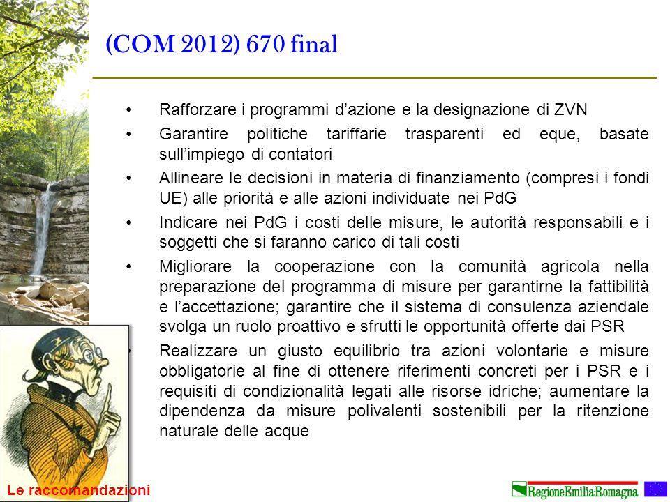 (COM 2012) 670 final Rafforzare i programmi d'azione e la designazione di ZVN Garantire politiche tariffarie trasparenti ed eque, basate sull'impiego