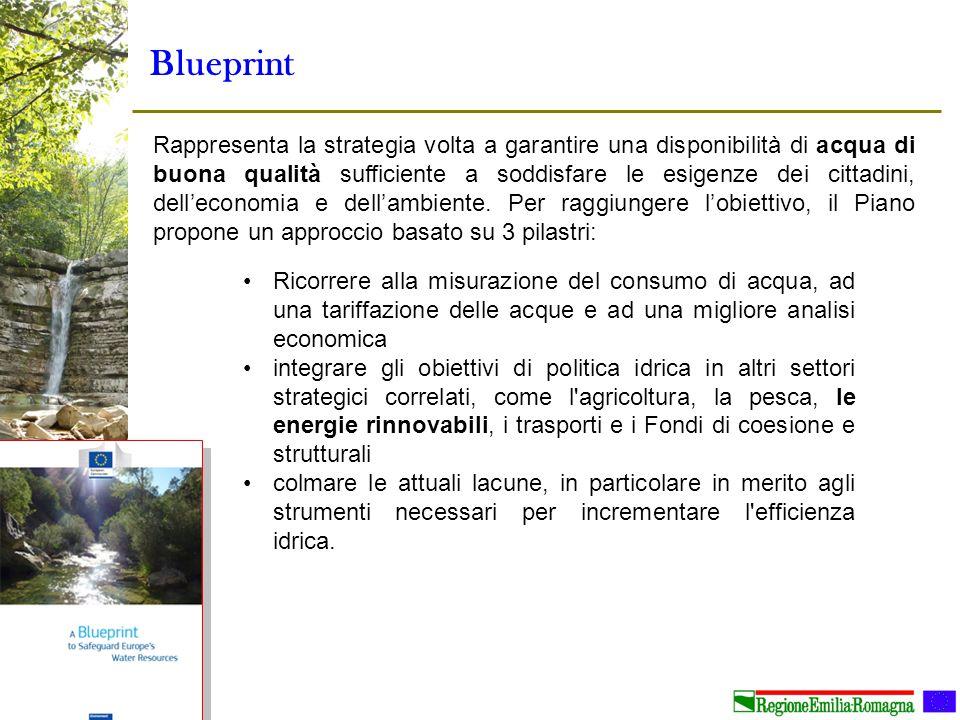 Blueprint Rappresenta la strategia volta a garantire una disponibilità di acqua di buona qualità sufficiente a soddisfare le esigenze dei cittadini, d