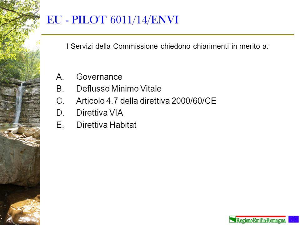 EU - PILOT 6011/14/ENVI A.Governance B.Deflusso Minimo Vitale C.Articolo 4.7 della direttiva 2000/60/CE D.Direttiva VIA E.Direttiva Habitat I Servizi