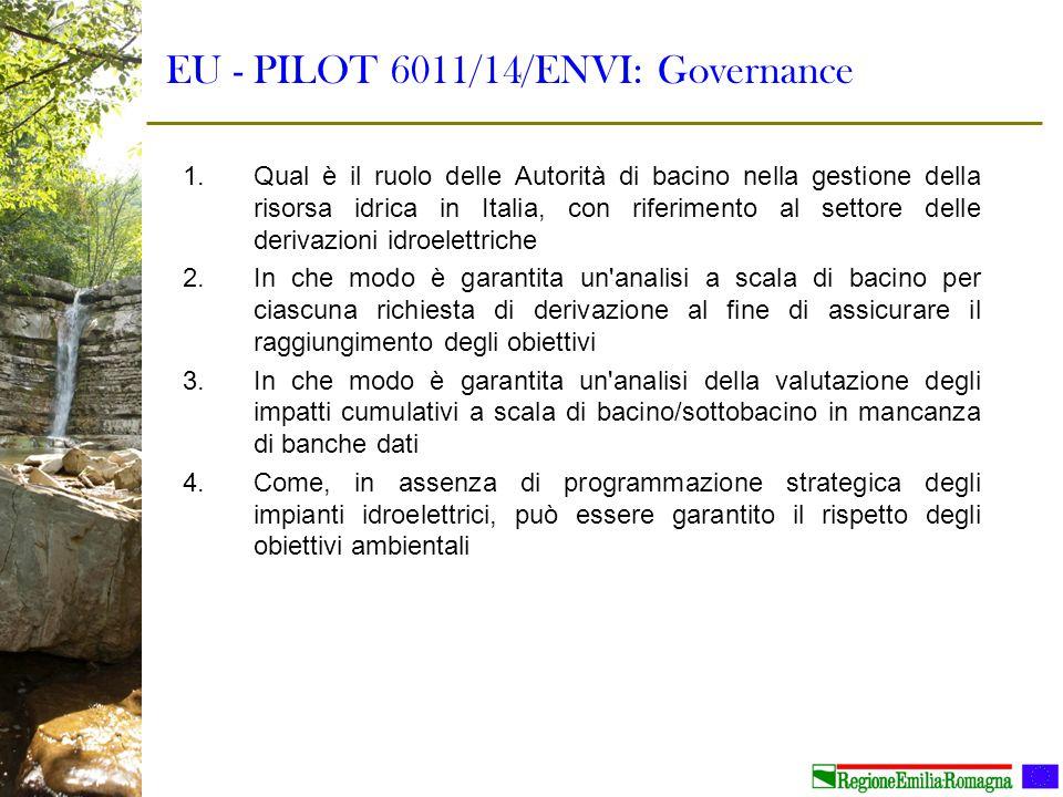 EU - PILOT 6011/14/ENVI: Governance 1.Qual è il ruolo delle Autorità di bacino nella gestione della risorsa idrica in Italia, con riferimento al setto