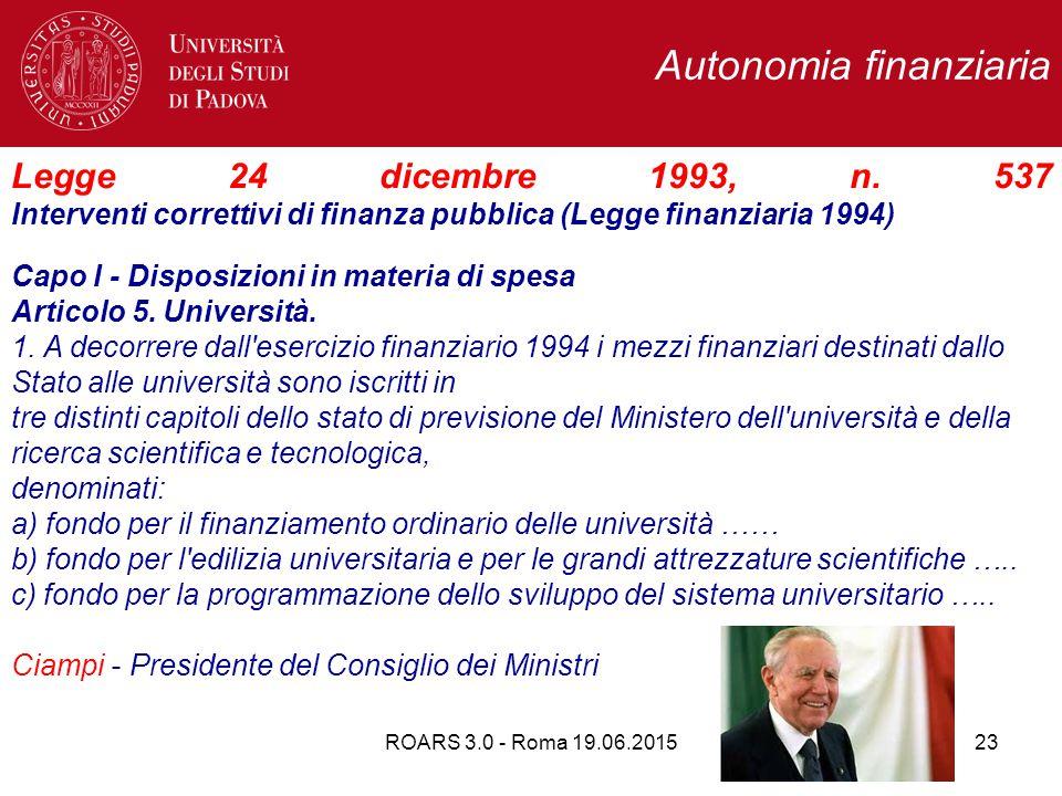 Autonomia finanziaria Legge 24 dicembre 1993, n.
