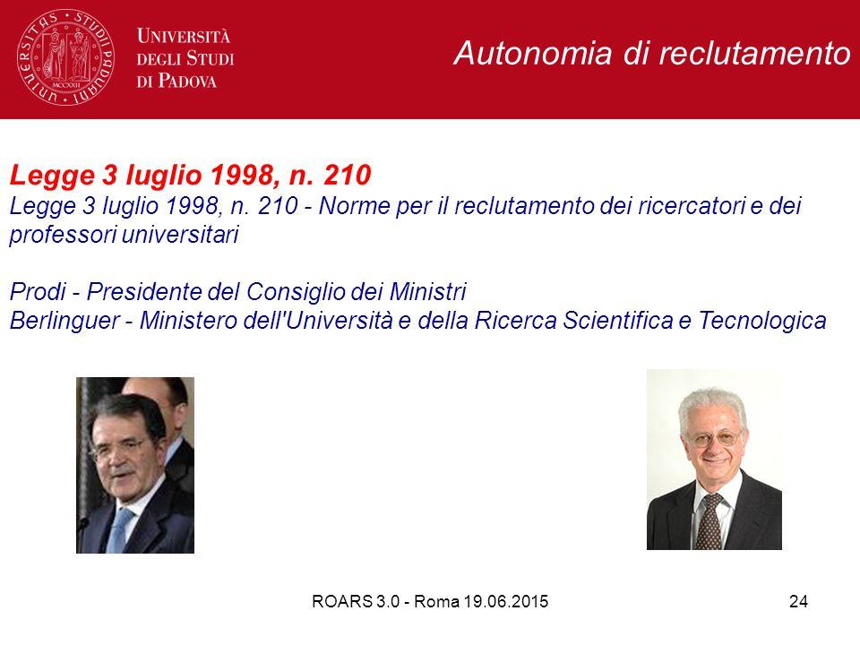 Autonomia di reclutamento Legge 3 luglio 1998, n. 210 Legge 3 luglio 1998, n.