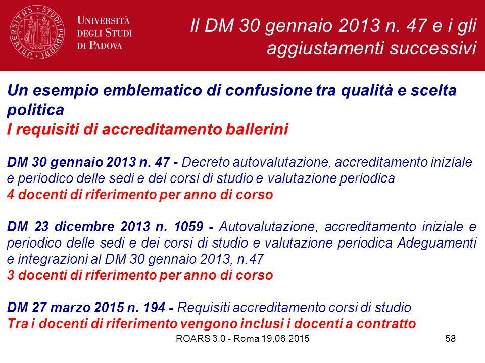 ROARS 3.0 - Roma 19.06.201558 Un esempio emblematico di confusione tra qualità e scelta politica I requisiti di accreditamento ballerini DM 30 gennaio 2013 n.