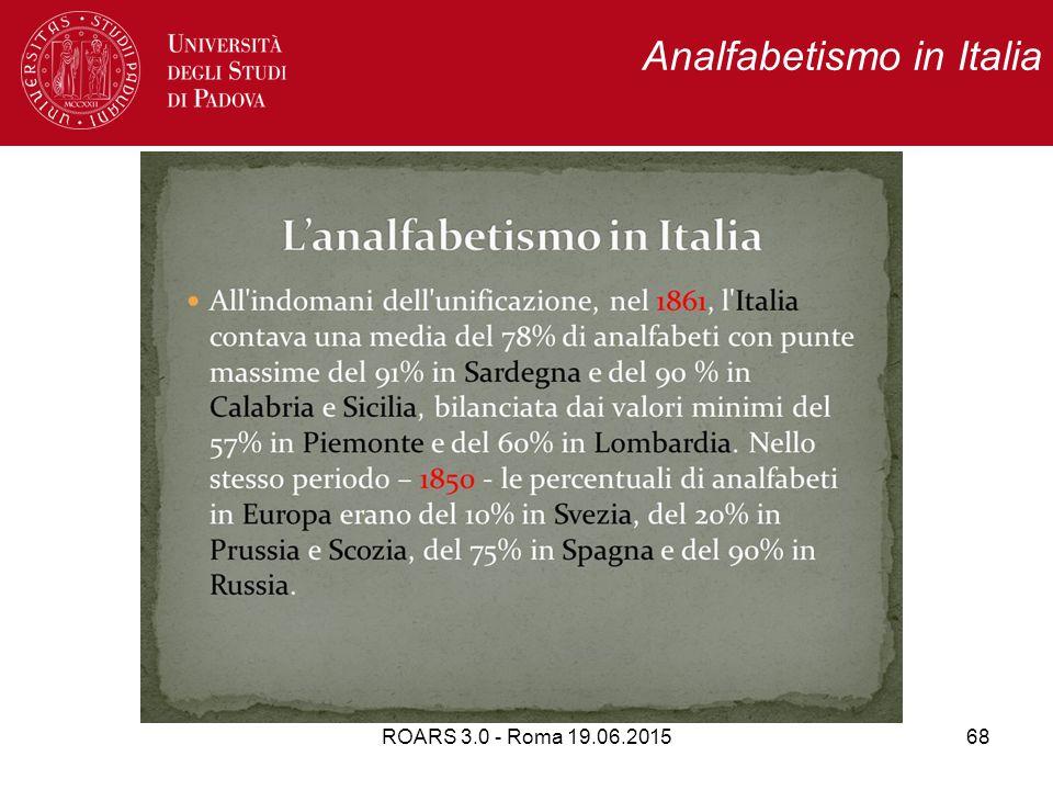 ROARS 3.0 - Roma 19.06.201568 Analfabetismo in Italia