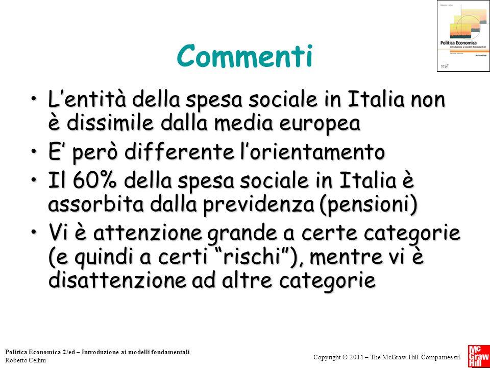 Copyright © 2011 – The McGraw-Hill Companies srl Politica Economica 2/ed – Introduzione ai modelli fondamentali Roberto Cellini Commenti L'entità dell