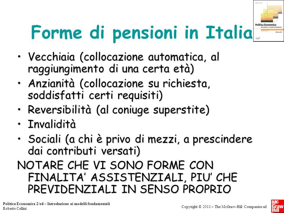 Copyright © 2011 – The McGraw-Hill Companies srl Politica Economica 2/ed – Introduzione ai modelli fondamentali Roberto Cellini Forme di pensioni in I