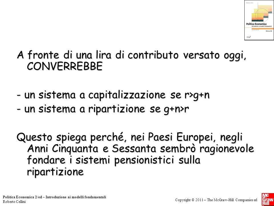 Copyright © 2011 – The McGraw-Hill Companies srl Politica Economica 2/ed – Introduzione ai modelli fondamentali Roberto Cellini A fronte di una lira d