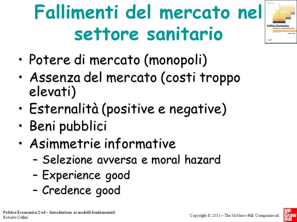 Copyright © 2011 – The McGraw-Hill Companies srl Politica Economica 2/ed – Introduzione ai modelli fondamentali Roberto Cellini Fallimenti del mercato