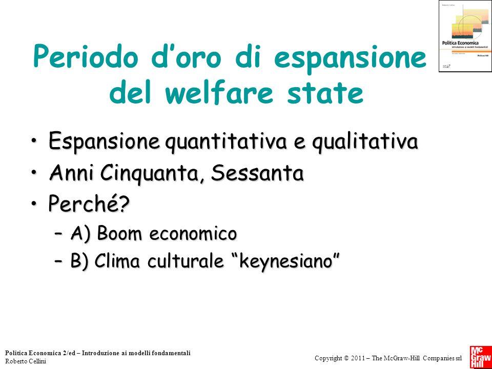 Copyright © 2011 – The McGraw-Hill Companies srl Politica Economica 2/ed – Introduzione ai modelli fondamentali Roberto Cellini Periodo d'oro di espan