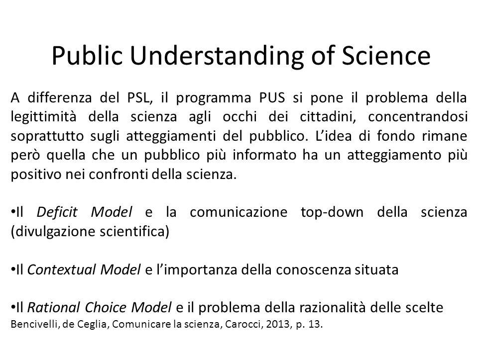 Public Understanding of Science A differenza del PSL, il programma PUS si pone il problema della legittimità della scienza agli occhi dei cittadini, concentrandosi soprattutto sugli atteggiamenti del pubblico.