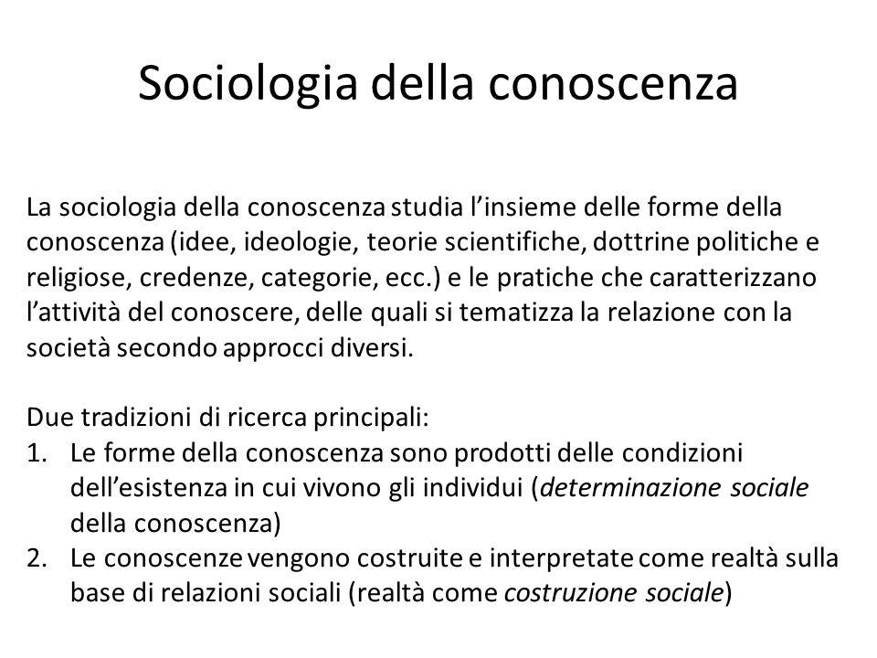 Sociologia della conoscenza La sociologia della conoscenza studia l'insieme delle forme della conoscenza (idee, ideologie, teorie scientifiche, dottri