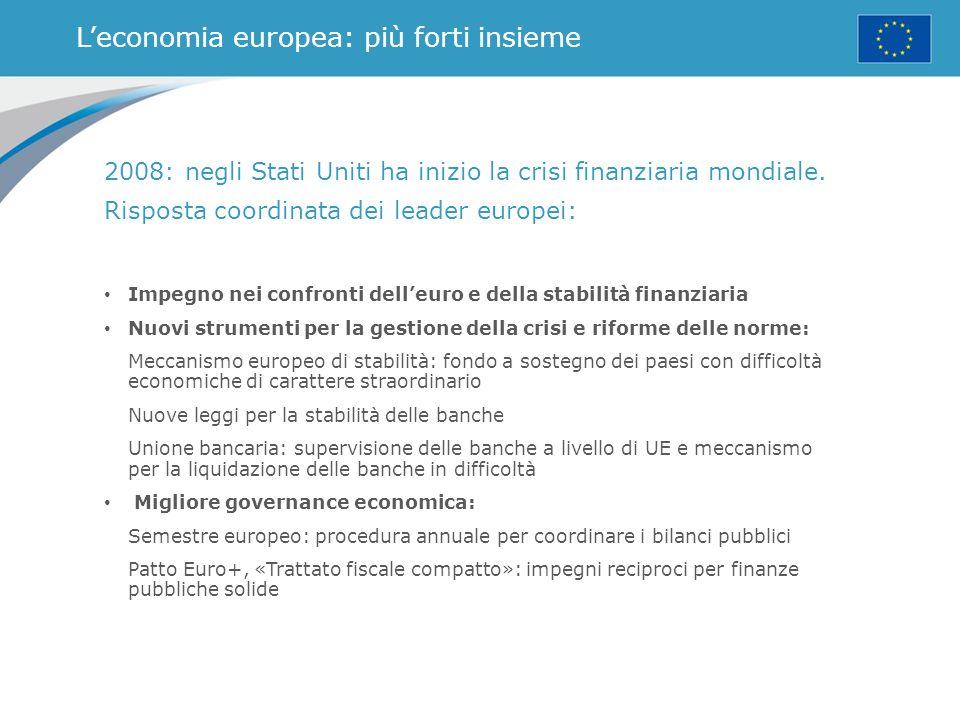Dieci priorità per l'Europa Nel 2015, il presidente della Commissione europea, Jean-Claude Juncker, si concentra su: 1.Il piano di investimenti: nuovo impulso ai posti di lavoro, alla crescita e agli investimenti 2.Un mercato digitale unico connesso 3.Un'Unione dell'energia resiliente, con una politica per i cambiamenti climatici previdente 4.Un mercato interno più equo e radicato, con industrie più forti 5.Un'Unione economica e monetaria più compiuta e giusta 6.Un accordo di libero scambio con gli Stati Uniti ragionevole ed equilibrato 7.Un'area di giustizia e diritti fondamentali basata sulla fiducia reciproca 8.Una nuova politica di migrazione 9.Un'Europa nella veste di attore globale più forte 10.Un'Unione europea del cambiamento democratico