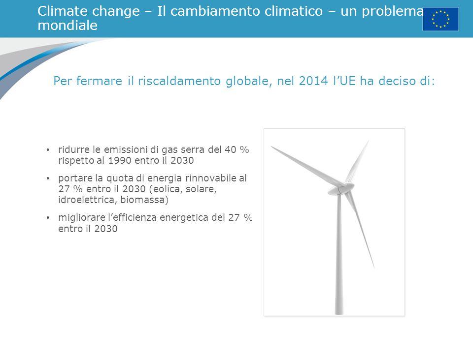 Le fonti di energia in un mondo che cambia Combustibile utilizzato in UE nel 2013 Quota di energia importata dai paesi extraeuropei nel 2013
