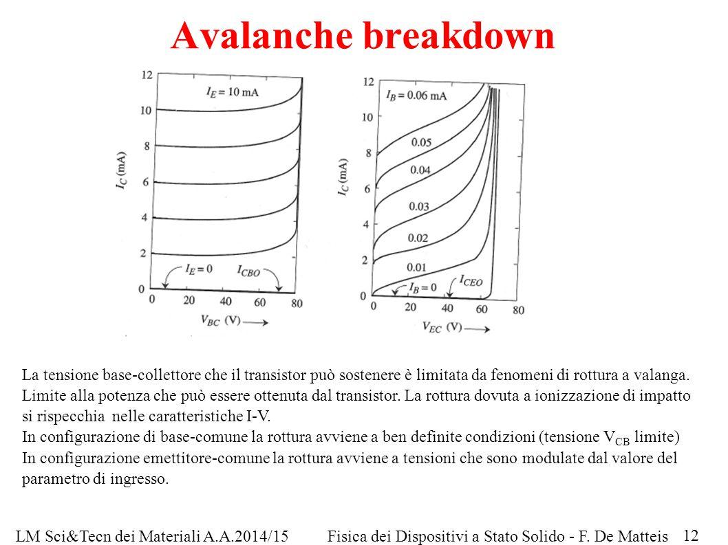 Avalanche breakdown La tensione base-collettore che il transistor può sostenere è limitata da fenomeni di rottura a valanga. Limite alla potenza che p