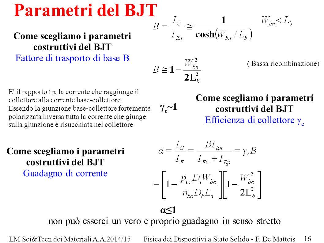 LM Sci&Tecn dei Materiali A.A.2014/15Fisica dei Dispositivi a Stato Solido - F. De Matteis Parametri del BJT Come scegliamo i parametri costruttivi de