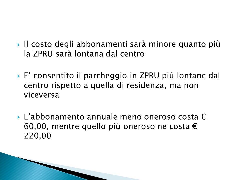  Il costo degli abbonamenti sarà minore quanto più la ZPRU sarà lontana dal centro  E' consentito il parcheggio in ZPRU più lontane dal centro rispetto a quella di residenza, ma non viceversa  L'abbonamento annuale meno oneroso costa € 60,00, mentre quello più oneroso ne costa € 220,00