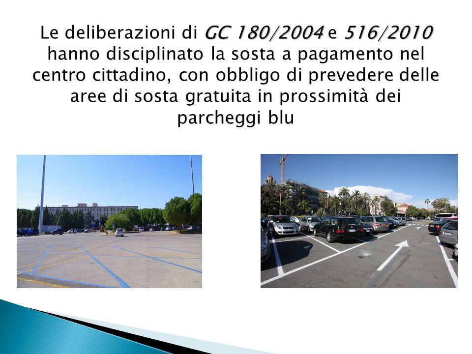 GC 180/2004 516/2010 Le deliberazioni di GC 180/2004 e 516/2010 hanno disciplinato la sosta a pagamento nel centro cittadino, con obbligo di prevedere delle aree di sosta gratuita in prossimità dei parcheggi blu
