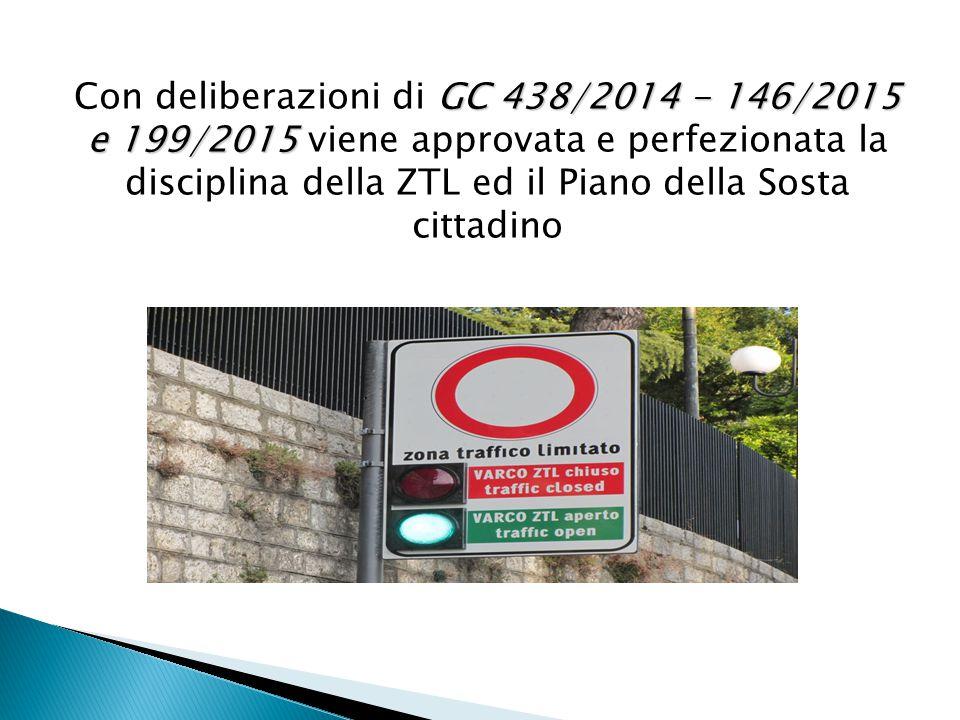 GC 438/2014 -146/2015 e 199/2015 Con deliberazioni di GC 438/2014 - 146/2015 e 199/2015 viene approvata e perfezionata la disciplina della ZTL ed il Piano della Sosta cittadino