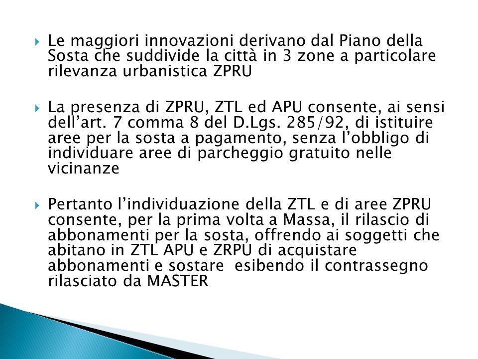  Le maggiori innovazioni derivano dal Piano della Sosta che suddivide la città in 3 zone a particolare rilevanza urbanistica ZPRU  La presenza di ZPRU, ZTL ed APU consente, ai sensi dell'art.