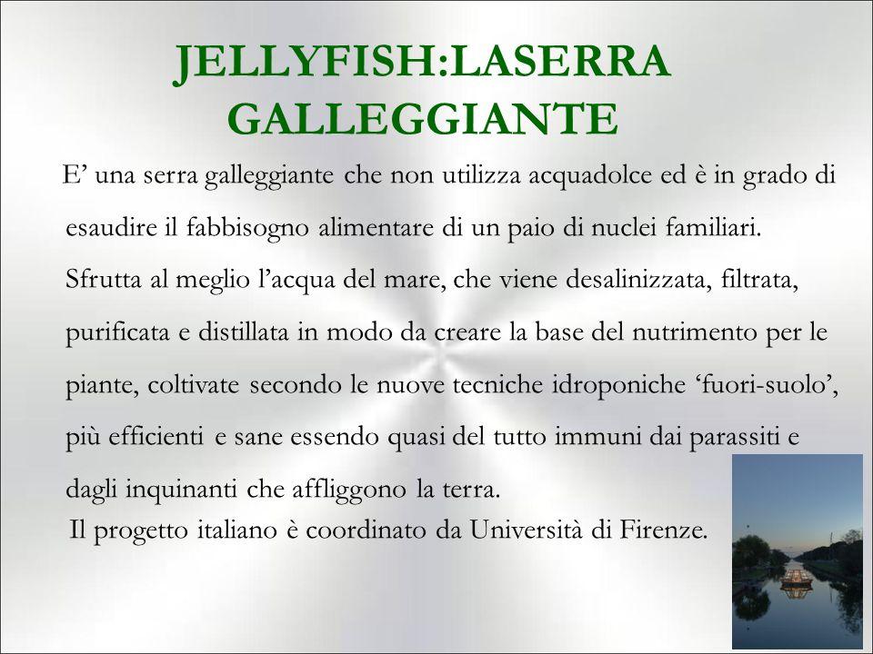 JELLYFISH:LASERRA GALLEGGIANTE E' una serra galleggiante che non utilizza acquadolce ed è in grado di esaudire il fabbisogno alimentare di un paio di nuclei familiari.