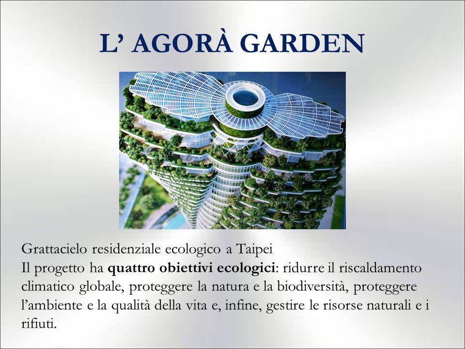 L' AGORÀ GARDEN Grattacielo residenziale ecologico a Taipei Il progetto ha quattro obiettivi ecologici: ridurre il riscaldamento climatico globale, proteggere la natura e la biodiversità, proteggere l'ambiente e la qualità della vita e, infine, gestire le risorse naturali e i rifiuti.