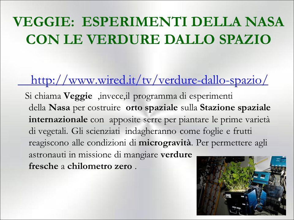 VEGGIE: ESPERIMENTI DELLA NASA CON LE VERDURE DALLO SPAZIO http://www.wired.it/tv/verdure-dallo-spazio/ Si chiama Veggie,invece,il programma di esperi