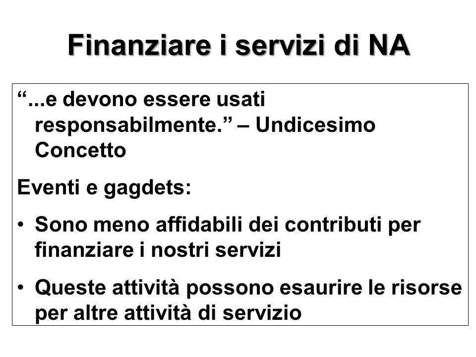 """Finanziare i servizi di NA """"...e devono essere usati responsabilmente."""" – Undicesimo Concetto Eventi e gagdets: Sono meno affidabili dei contributi pe"""
