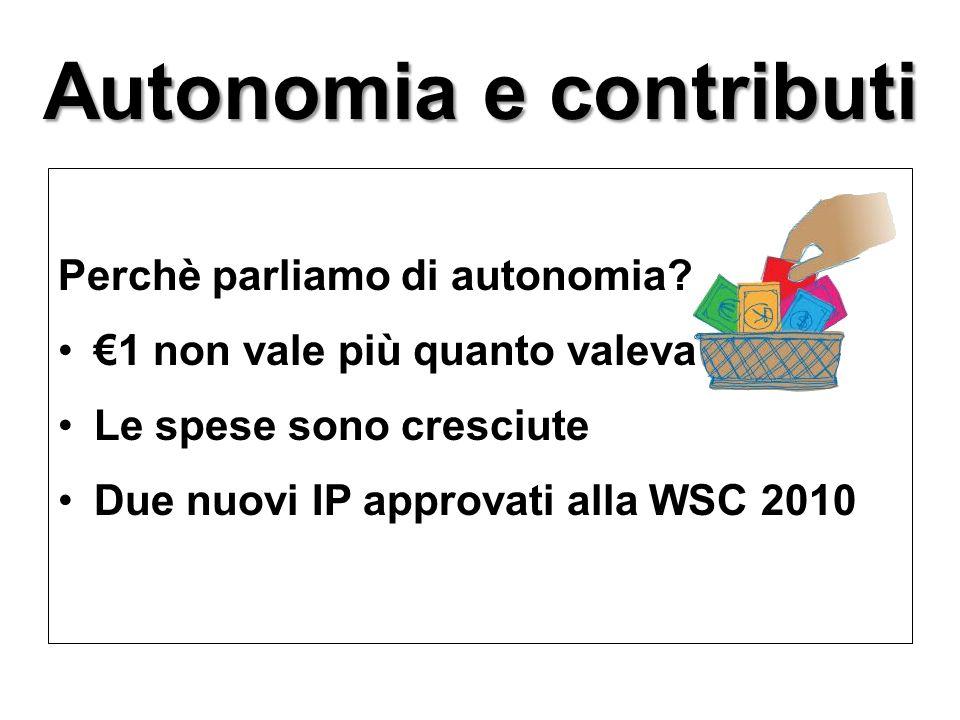 Autonomia e contributi Perchè parliamo di autonomia? €1 non vale più quanto valeva Le spese sono cresciute Due nuovi IP approvati alla WSC 2010