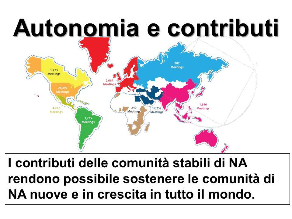 Autonomia e contributi I contributi delle comunità stabili di NA rendono possibile sostenere le comunità di NA nuove e in crescita in tutto il mondo.