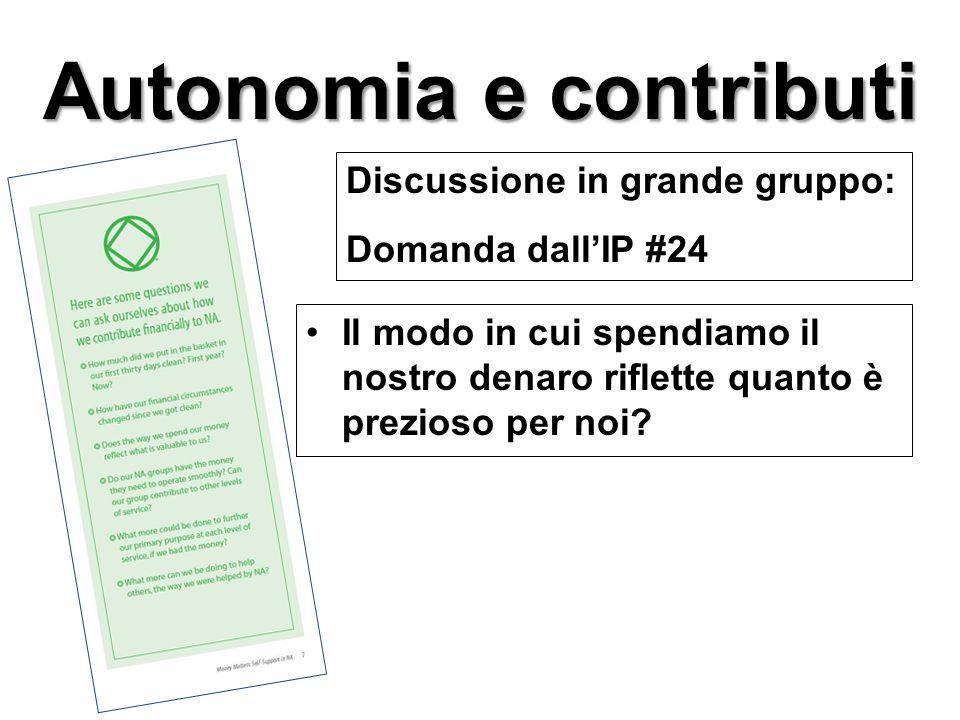 Il modo in cui spendiamo il nostro denaro riflette quanto è prezioso per noi? Discussione in grande gruppo: Domanda dall'IP #24 Autonomia e contributi