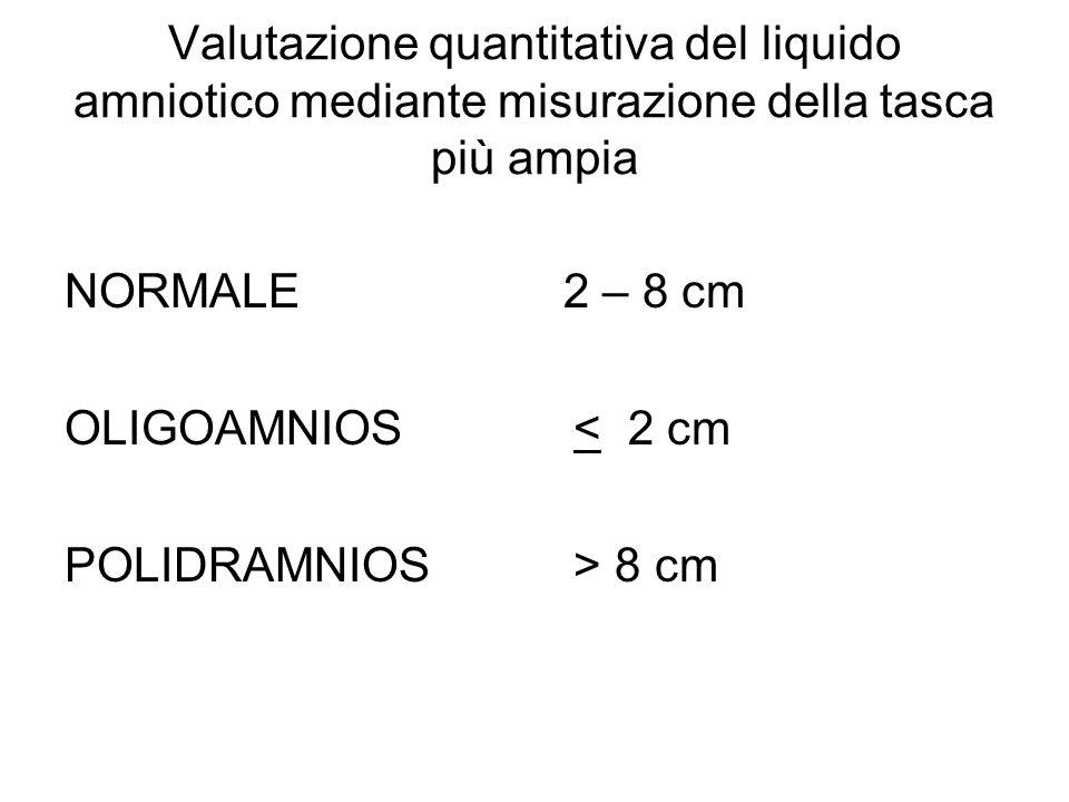 Valutazione quantitativa del liquido amniotico mediante misurazione della tasca più ampia NORMALE 2 – 8 cm OLIGOAMNIOS < 2 cm POLIDRAMNIOS > 8 cm