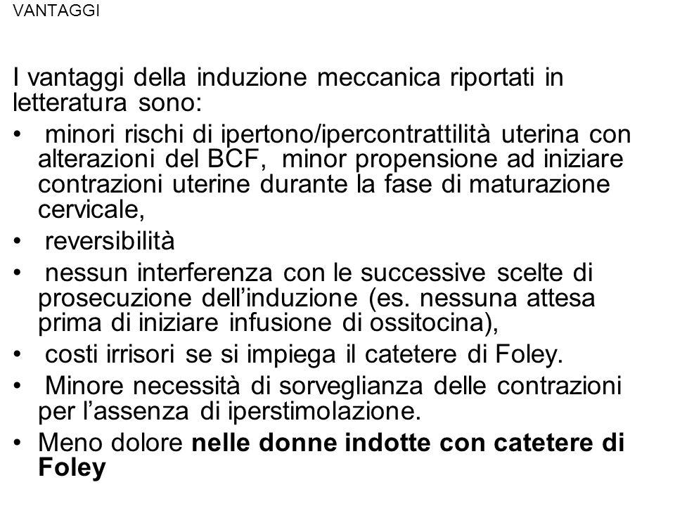 VANTAGGI I vantaggi della induzione meccanica riportati in letteratura sono: minori rischi di ipertono/ipercontrattilità uterina con alterazioni del B