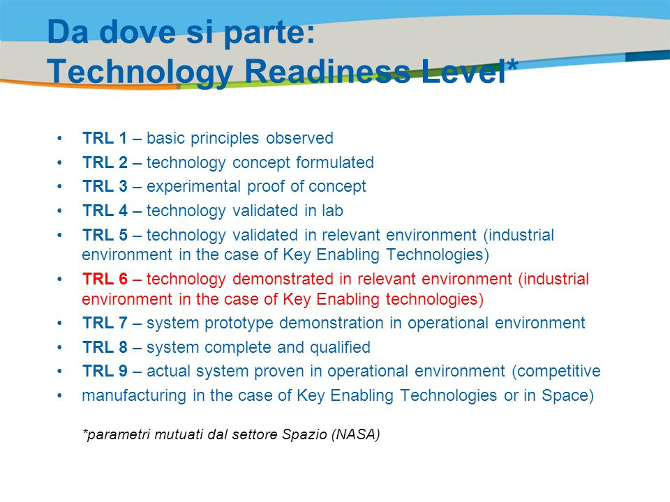 Title of the presentation | Date |‹#› Da dove si parte: Technology Readiness Level* TRL 1 – basic principles observed TRL 2 – technology concept formulated TRL 3 – experimental proof of concept TRL 4 – technology validated in lab TRL 5 – technology validated in relevant environment (industrial environment in the case of Key Enabling Technologies) TRL 6 – technology demonstrated in relevant environment (industrial environment in the case of Key Enabling technologies) TRL 7 – system prototype demonstration in operational environment TRL 8 – system complete and qualified TRL 9 – actual system proven in operational environment (competitive manufacturing in the case of Key Enabling Technologies or in Space) *parametri mutuati dal settore Spazio (NASA)
