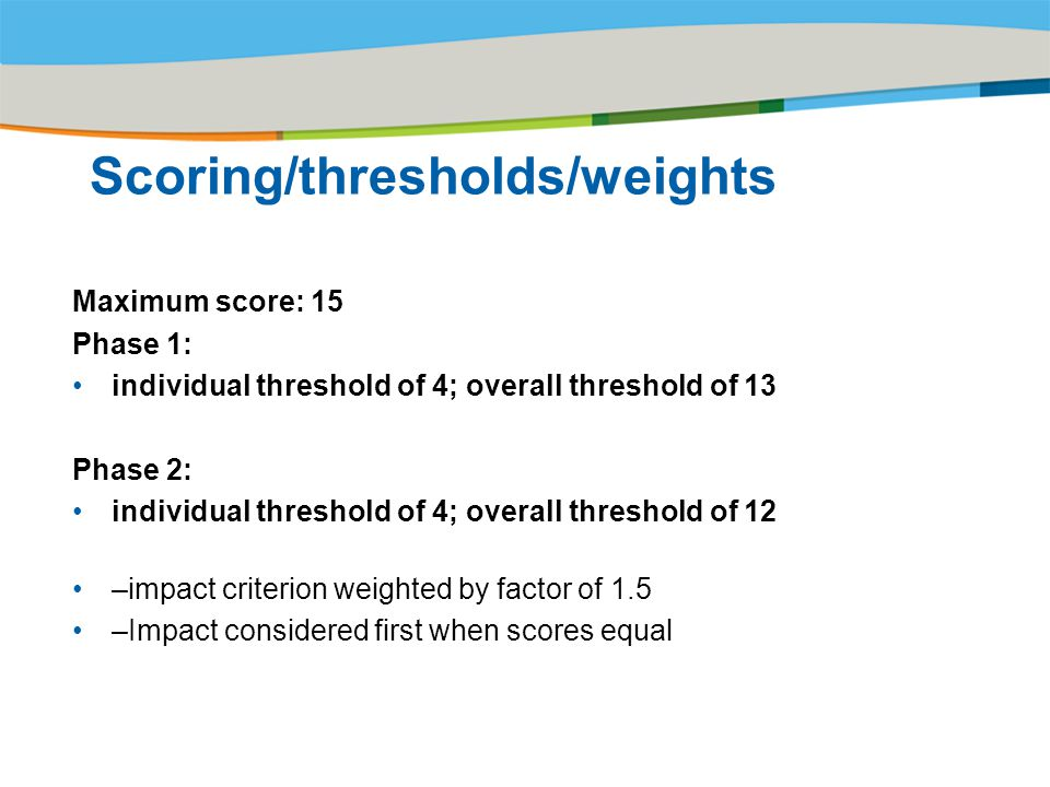 Title of the presentation | Date |‹#› Scoring/thresholds/weights Maximum score: 15 Phase 1: individual threshold of 4; overall threshold of 13 Phase 2