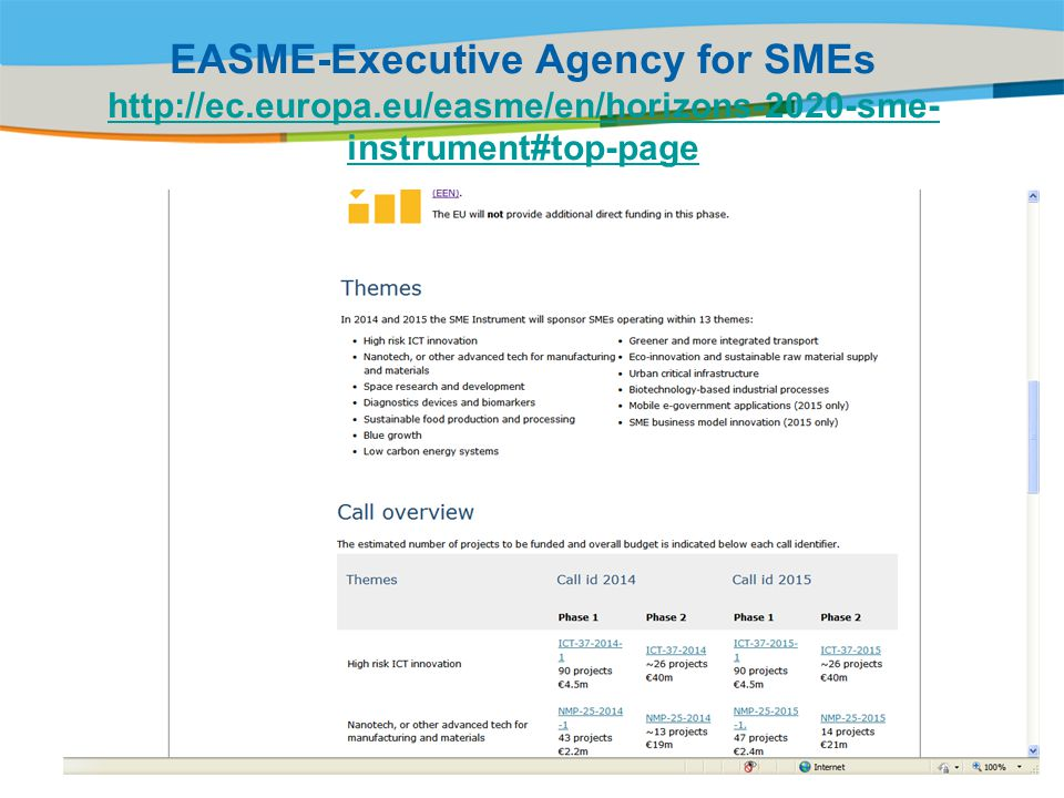 EASME-Executive Agency for SMEs http://ec.europa.eu/easme/en/horizons-2020-sme- instrument#top-page http://ec.europa.eu/easme/en/horizons-2020-sme- instrument#top-page