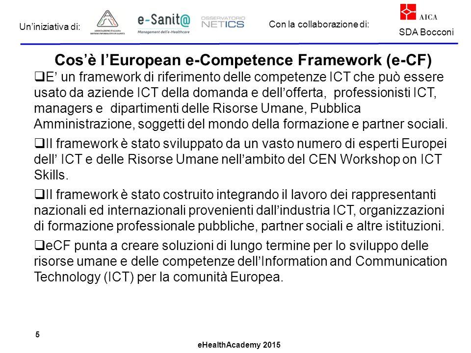 eHealthAcademy 2015 Con la collaborazione di: Un'iniziativa di: SDA Bocconi Cos'è l'European e-Competence Framework (e-CF)  E' un framework di riferimento delle competenze ICT che può essere usato da aziende ICT della domanda e dell'offerta, professionisti ICT, managers e dipartimenti delle Risorse Umane, Pubblica Amministrazione, soggetti del mondo della formazione e partner sociali.