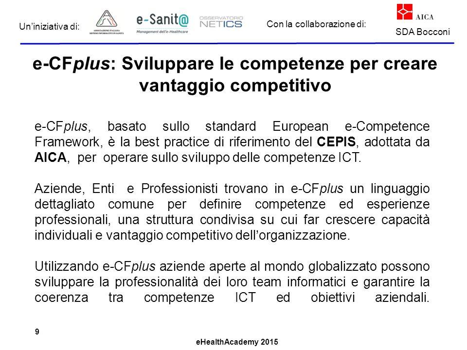 eHealthAcademy 2015 Con la collaborazione di: Un'iniziativa di: SDA Bocconi e-CFplus: Sviluppare le competenze per creare vantaggio competitivo e-CFpl