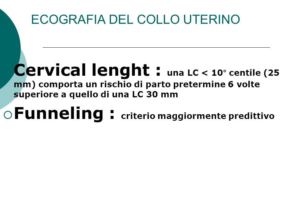 ECOGRAFIA DEL COLLO UTERINO  Cervical lenght : una LC < 10° centile (25 mm) comporta un rischio di parto pretermine 6 volte superiore a quello di una